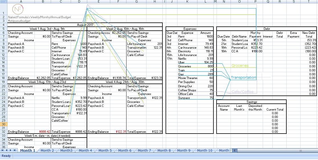 budget tracking sheet